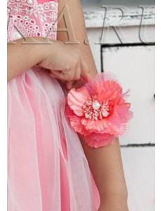 """Браслет коралловый с жемчужным браслетом """"Цветок"""""""