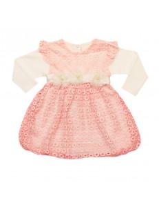 Платье нарядное розовое на малышку с длинным рукавом гипюр