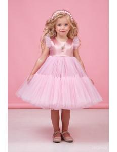 """Платье нарядное нежно-розового цвета для девочек с многослойной юбкой """"Одуванчик"""""""