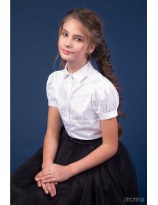 """Блузка белого цвета с коротким рукавом-фонарик """"Отличница"""""""
